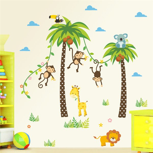 Forest Animals Giraffe Lion Monkey Palm Tree wall stickers for kids room Children Wall Decal Nursery Bedroom Decor Poster Mural