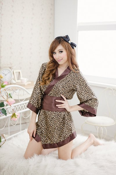 Japanese kimono traditional girls Geisha cosplay sexy bathhouse womens females suits cosplay sexy leopard print cos Costume