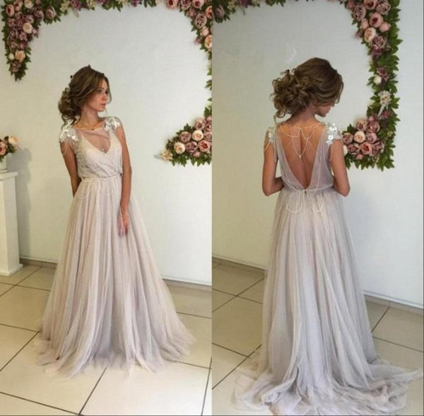 Abiti da festa economici New Sexy Sheer Cap Sleeves Tulle Prom Dresses Beaded Strass Backless Lunghi Abiti da sera lunghi