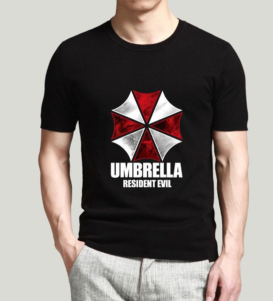 100% Cotton Geek Family Top Tee Man Clothing Cool Short Sleeve Game Funny Men Printed Shirt Umbrella Resident Evil T-Shirt