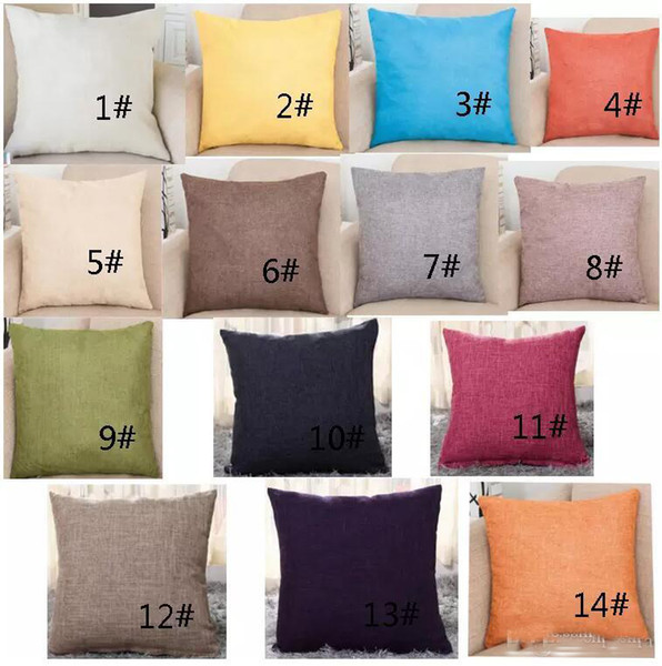 top popular Brand new Pillow case Cotton Linen Solid Color Square Design Throw Pillow Case,Cushion Cover Decorative Pillow Blank Christmas Decor Gift 2019