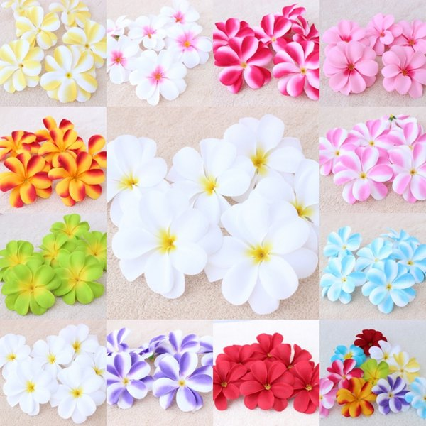 100Pieces 7.5cm Hawaiian Plumeria Frangipani Artificial Lint Flower Heads Wedding Decoration