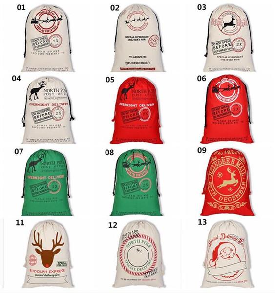 100pcs Christmas Gift Bags Large Organic Heavy Canvas Bag Santa Sack Drawstring Bag With Reindeers Santa Claus Sack Bags for kids G234