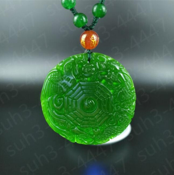 Green Jade Dragon Phoenix Pendant Necklace Hand Carved Charm Jewelry Amulet