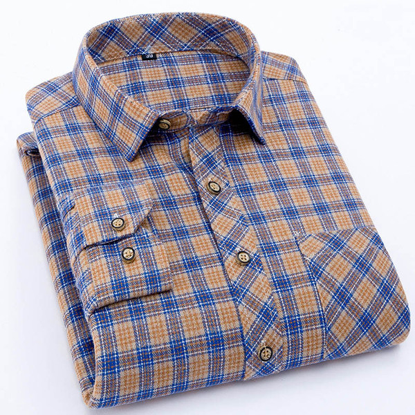 Camicie a maniche lunghe in flanella da uomo Camicie a maniche lunghe casual autunno-inverno Primavera-Autunno Camicie a maniche corte per uomo