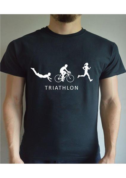 Evolução impressa engraçada da camisa de T - paródia do gracejo do presente de Natal do Triathlon