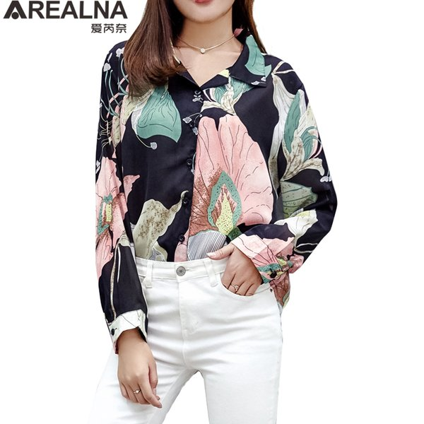 9d9fc2a0559 2018 Autumn shirt Women tops Casual Loose Long sleeve Floral Print Chiffon blouse  Office Work Wear