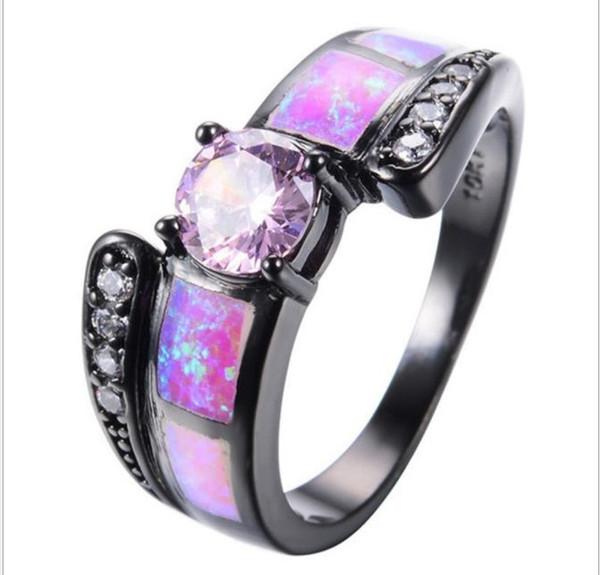 Новое черное золото с розовыми круглыми кольцами с бриллиантами