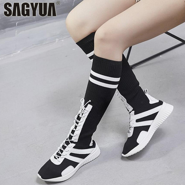 Preppy Style Summer Autumn Women Lady Knee High Lacing Stocking Sock Jackboots Flat Fashion Casual Shoes Boots Bottine Shoe T752