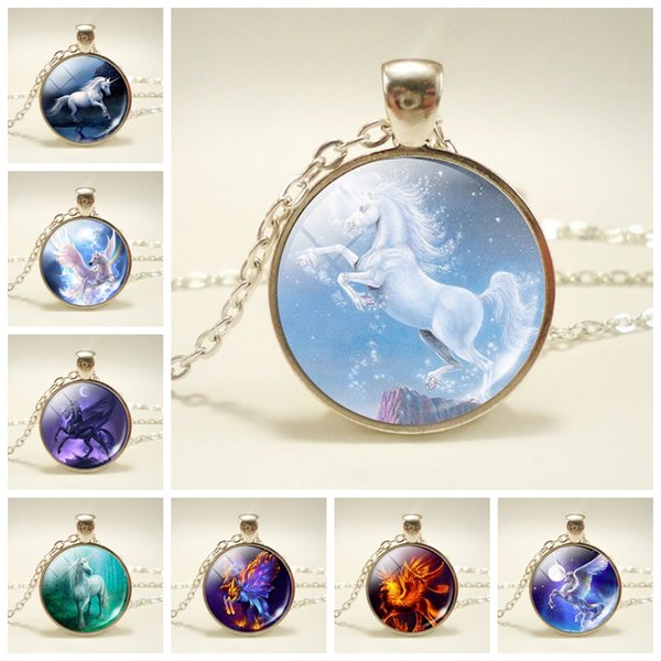 Fashion Kids Animal Unicorn Necklace Europe and America Time Gem Women baby Girl Gift Kids Jewelry