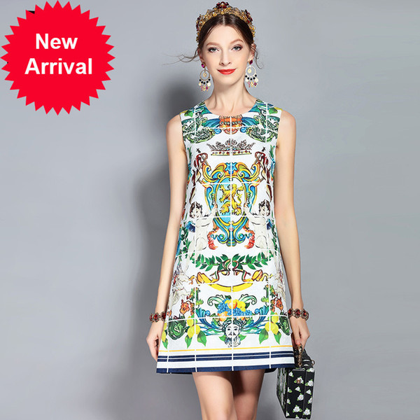 New 2018 Fashion Runway Summer Dress Women's Sleeveless Tank Angel Floral Pattern Print Beading Vintage Dress