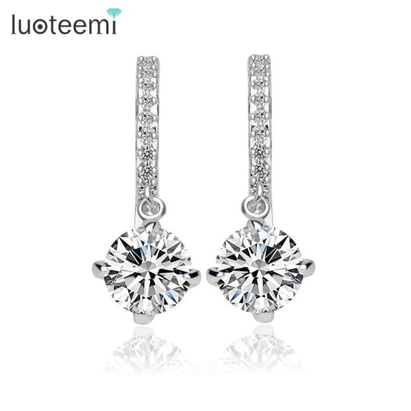 whole saleLUOTEEMI Loop with 8mm 2ct Round CZ Hoop Earrings Small Tiny Cubic Zircon Delicate Women Hoop Earrings Factory Wholesale Jewlery