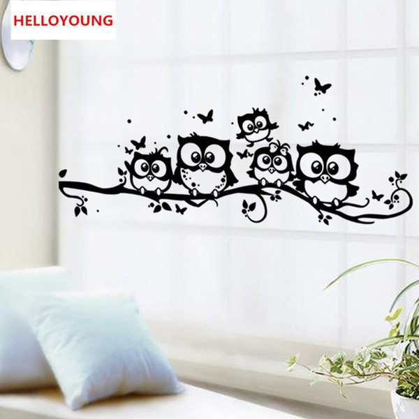 DIY Wall Sticker Creative Cartoon Black Owl Wallpapers Art Mural Waterproof TV Wall Stickers Home Decor Backdrop