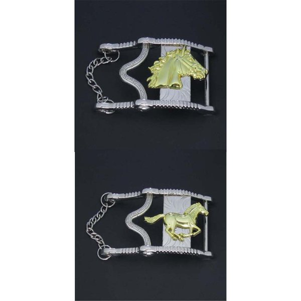 Cut Out Running Horse & Horse Head With Chain Wstern Belt Buckle Suitable For 4cm Wideth Belt With Continous Stock