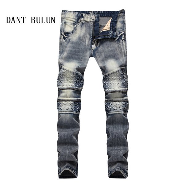 DANT BULUN Mens Retro Zipper Denim Biker Star Jeans Brand Men Stretch Slim Fit Casual Jeans Runway Distressed Pants,5032