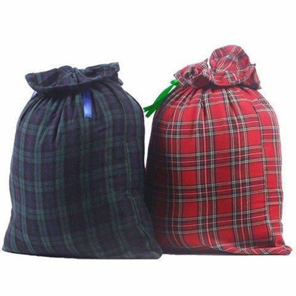 Christmas Plaid Gift Bags Santa Sack Drawstring Bag Christmas Santa Bags Indoor Xmas Decoration 2 Colors OOA5429