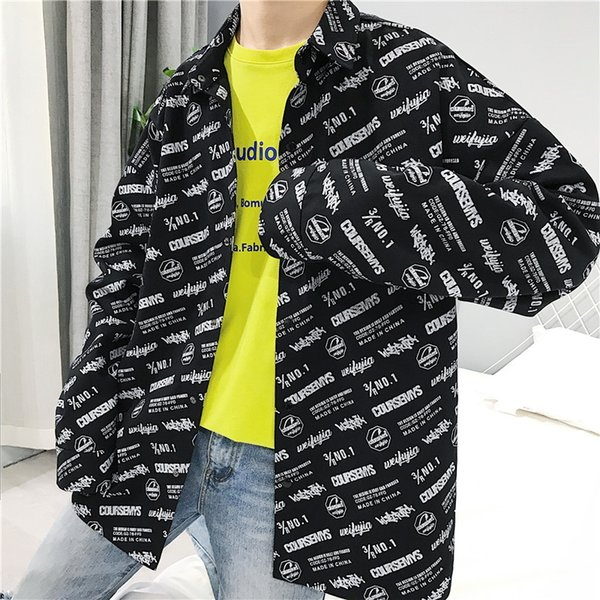 Full Printed Turn Down Collar Oversized Shirt Men 2018 Autumn High Street Shirts Casual Men's Shirts Black Beige