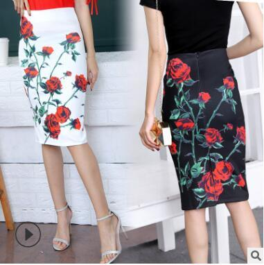 2018 New Trend Summer Style Jupe Crayon Femmes Taille Haute Jupes Vert Vintage Elegant Bodycon Floral Print Midi Jupe