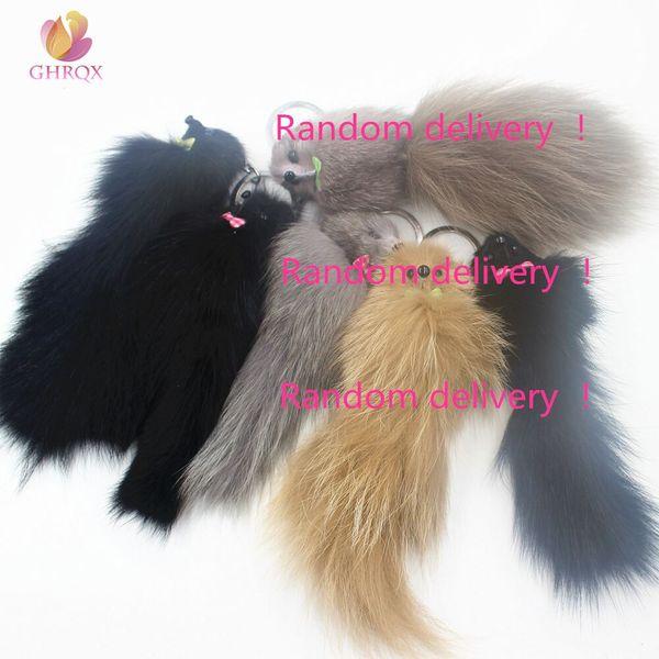 19cm Hot Sell Lovely Fluffy Fox Fur Key Chain Pom Pom Artificial Fur Keychain Women Girl Bag Charm Pendant Car Keyring Jewelry