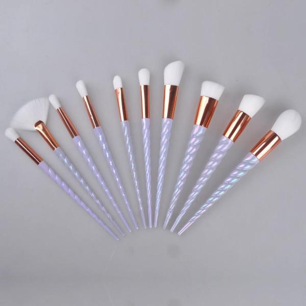 Newest! 10PCS Unicorn Makeup Brushes The fan brush Makeup Tools Professional Synthetic Cosmetic Foundation Eyeshadow Eyeliner Brushing