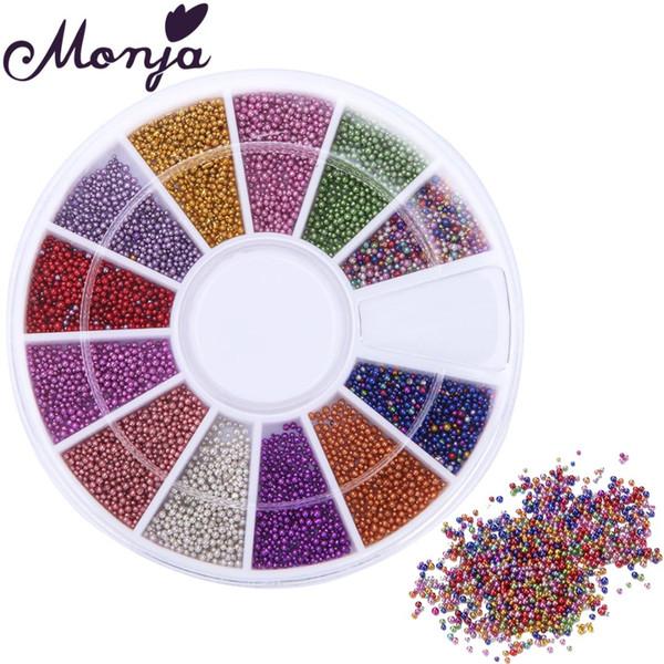 12 Grids 0.8mm Multicolor Nail Art Caviar Beads Set Gel Polish Tips DIY Mini Bead Decoration Fashion Jewelry Accessory Wheel Kit