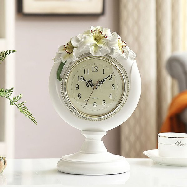 European Large-Display Digital Lilies Desk Clock, Silence Table Clock,6 Inch Dial,White/Pink for wedding home decoration elegant