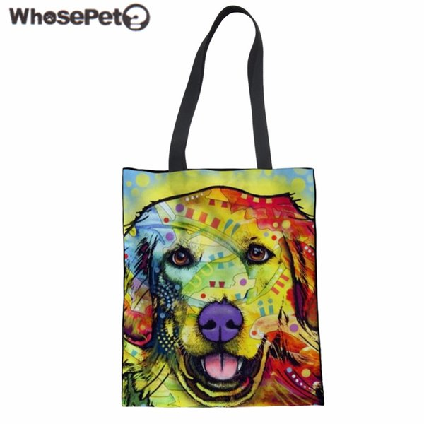 WHOSEPET Women Shoulder Bag Dog Print Handbag Teenager Girls Canvas Tote Bag Fashion Beach Large Top-handle Bolsa Feminina