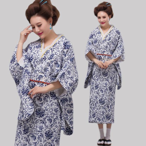 Alta Qualidade Japão Kimono Azul e Branco Porcelana Traje Tradicional Japonesa Mulheres Folk Traje Vestido Frete Grátis