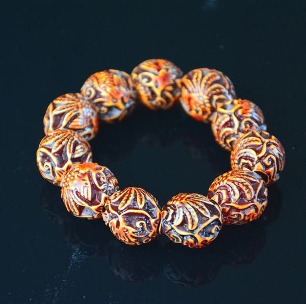 Dragon Phoenix Beads Resin All-match Bracelet Wrist Men Rubber Jewelry Ethnic Style Gift masculino Braceletes