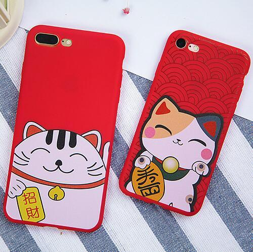 For iPhone X XS 7 8 8P Case 3D Kawaii Lucky Cat Ultra thin Matte Cover for iphone7 Plus 6 s 6s plus 6plus Phone Cases