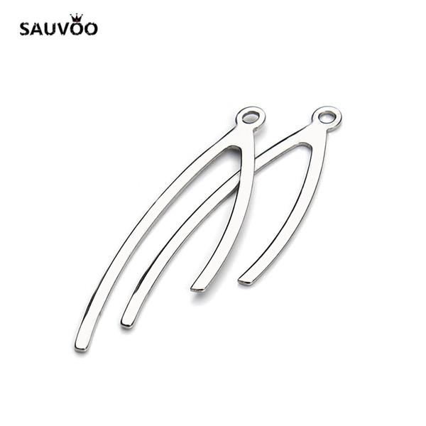 SAUVOO Stainless Steel Simplel Charms Pendant 11.5*37mm Silver Color for Necklace Bracelet DIY Jewelry Making Findings Component