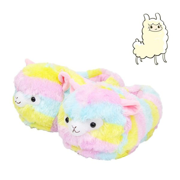 Llama Arpakasso Plush Slippers Rainbow Alpaca Full heel Soft Warm Household Winter flip flop for big children Shoes 28cm C5125