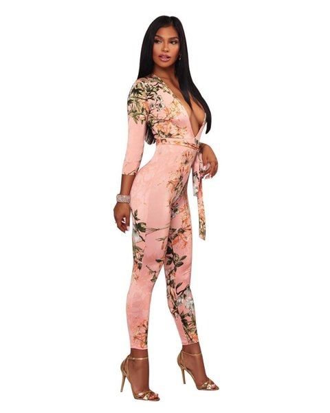 2017 Plus Sizes S-3XL Fall Fashion Floral Print Women Skinny Jumpsuits Three Quarter Sleeves Rompers Deep V Neck Sexy Bodysuits