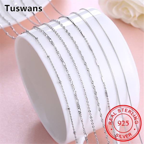 "925 Sterling Silver Basic Chain Necklace Women Kids Girls Sterling-Silver-Jewelry 16-20"" Wholesale Women's Clothing Accessories"