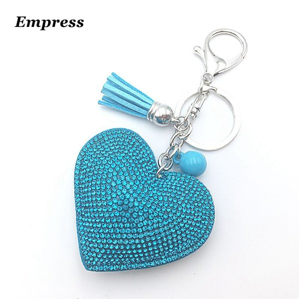 2018 Quality is the first female cute key chain ring rhinestone heart gift item 10 color Mosaic leather tassel like wholesale