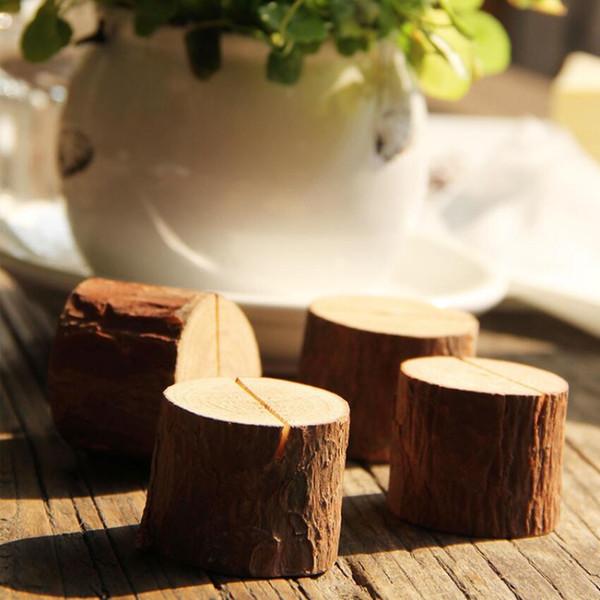 Tree Stump Craft Place Titolare della carta Fetta in legno Stile rustico Photo Clip Home Decorazione in legno naturale NNA122