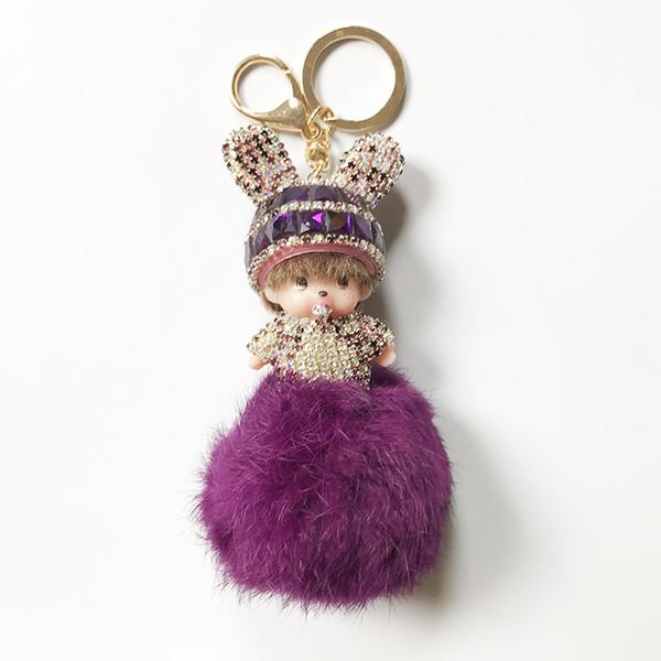 Schlüsselbund Mädchen Kaninchenfell Ball Strass Pompon Schlüsselanhänger für Tasche Neujahr Geschenk Geldbörse Handtasche