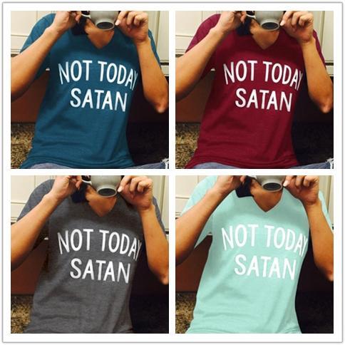 Yaratıcı moda basit gömlek kısa kollu İngilizce mektup T-shirt Avrupa ve Amerikan patlama kadınlar Bugün Değil Şeytan mektup baskı sho