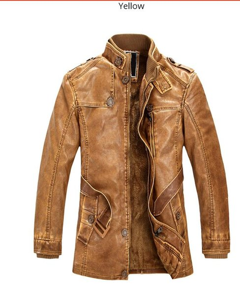 2018 New Leather Jackets Men Winter Casual Coats Homme Thicken Warm Windproof Mandarin Collar Fashion Brand Long PU Jackets
