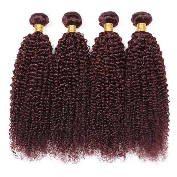 wine red Malaysia kinky curly human hair 4 Bundles hair weave curly wave extension for black women burgundy color double weft hair 99J