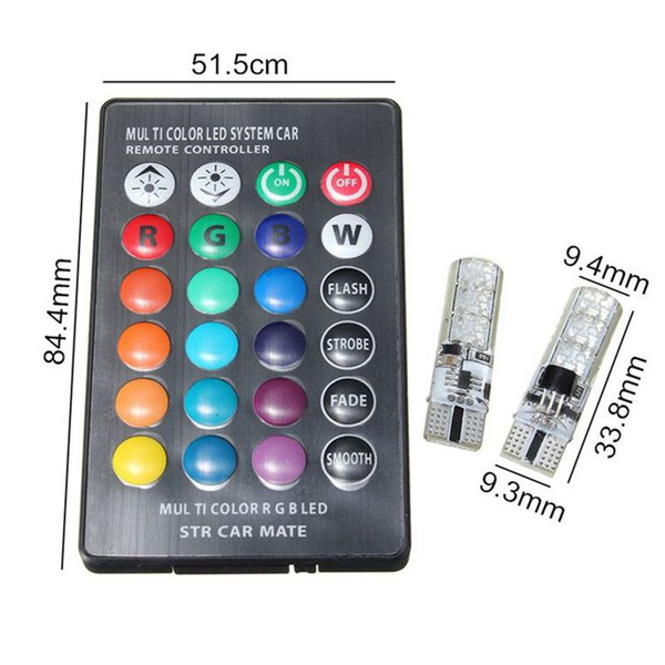 T10 W5W LED Luci per auto Lampadine a LED RGB con telecomando 194 168 501 Luci di lettura della lampada a led stroboscopiche Bianco Rosso Ambra 12V
