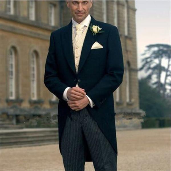 Dark Navy Blue Long Tailored Coat Formal Wedding Suits For Men 3pieces(Jacket+Pants+Vest+Tie) Grooms Tuxedos Slim Fit Blazer