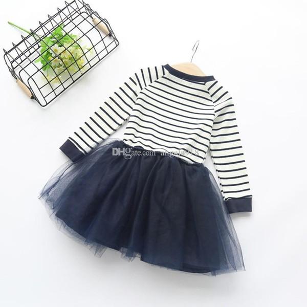 INS Venta caliente de los niños de color azul marino a rayas vestido de costura a rayas top costura falda tutú de malla H142
