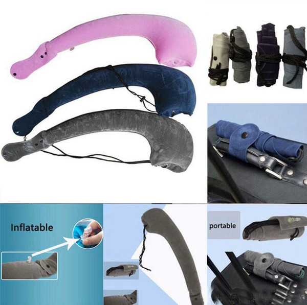 Inflatable Airplane Travel Neck Pillow Air Inflatable Neck Pillow Sleeping Tube Cushion Neck Chin Head Support 6 Colors