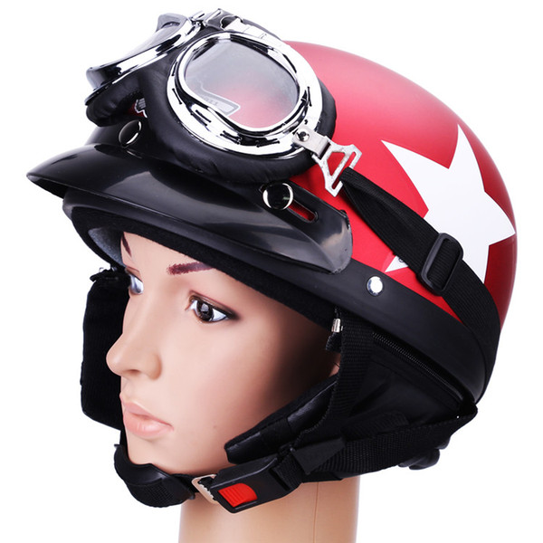 Motorcycle Helmet with Cycling Goggles Unisex Half Face Motorbike Racing Helmets Jet Vintage for Men Star Red Helmet fit 54-59cm