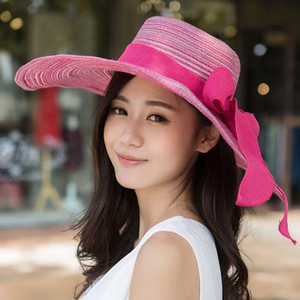 Kesebi 2017 new hot moda primavera verão feminino tricô cor sólida chapéu casual mulheres arco coreano grande chapéu de praia de palha chapéus de sol