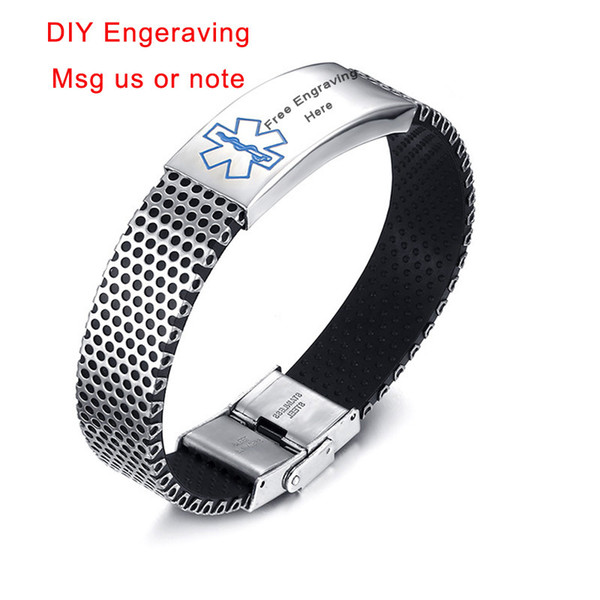 Customized Diabetes ID Bracelet For Men Medical Alert Bangle Fish Net Stainless Steel Personalized Text Pulseira Masculina