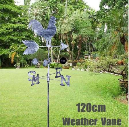 Vintage Rooster Weather Vane Metal Iron Wind Speed Spinner Direction Indicator Garden Ornament Patio Yard Decoration 120cm
