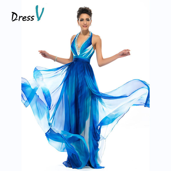 vente en gros longues robes de soirée de modèle d'impression de charme licol perles sexy robes de bal sans dossier A-ligne imprimée longue robe de soirée