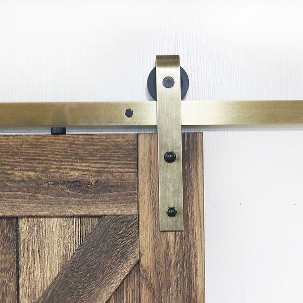 top popular Strap Gold Finish Sliding Barn Door Track Hardware Kit Brass Classic Sliding Barn Wood Door Hardware Kit 2021